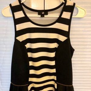NWOT black and white striped cutesy flare top